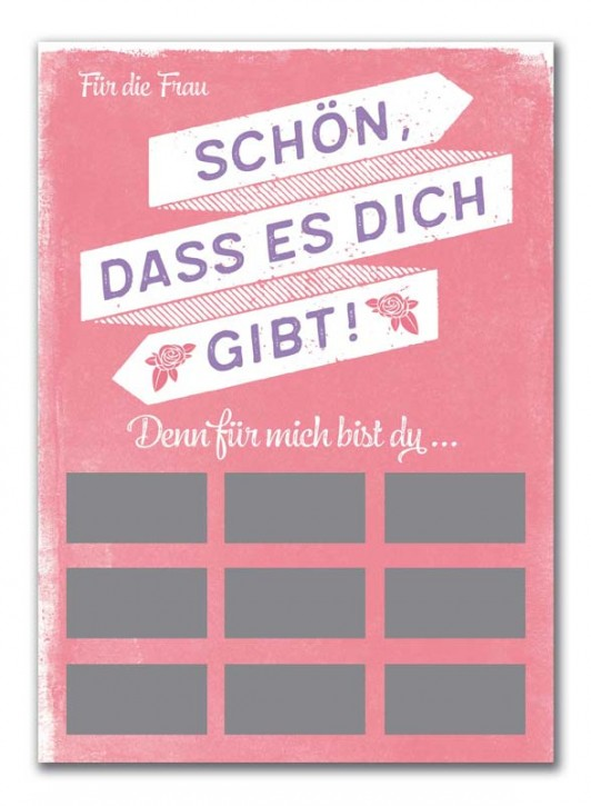 """Rubbel-Postkarte """"Komplimente für die Frau"""""""