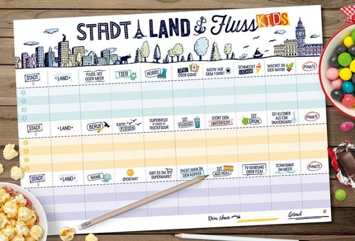 """Spielblock """"Stadt-Land-Fluss Kids"""" im neuen Design"""