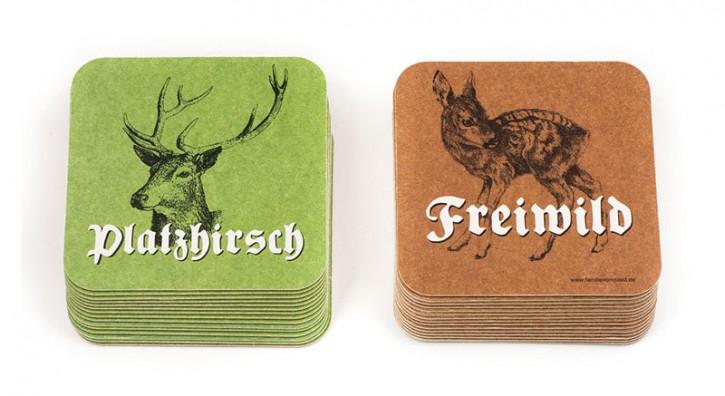 """Bierdeckel """"Platzhirsch / Freiwild"""""""