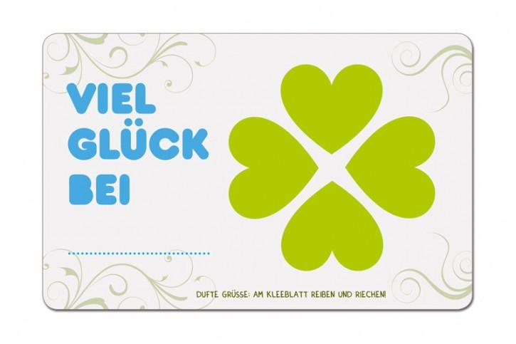 """Duftpostkarte """"Viel Glück bei..."""""""