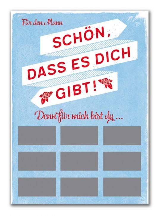 "Rubbel-Postkarte ""Komplimente für den Mann"""
