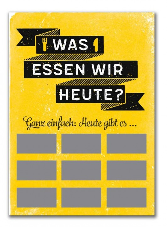 """Rubbel-Postkarte """"Was essen wir heute? """""""